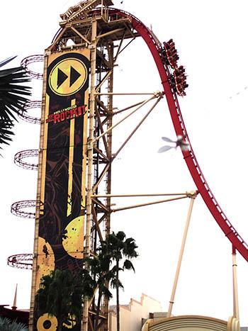 Rip Ride Rockit rollercoaster car zooming down the inital drop