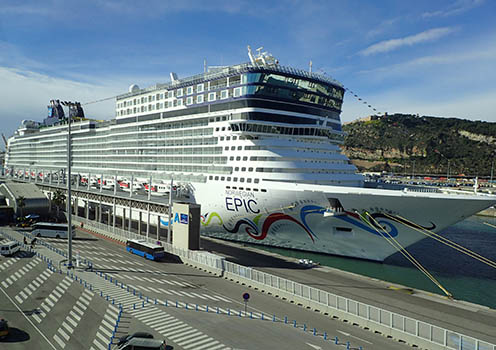 The Norwegian Cruise Line's Epic; drawn up along the dock at the Port of Barcelona